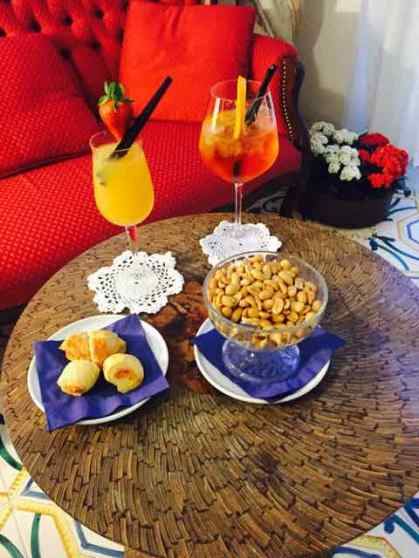 Drinks and complimentary nibbles