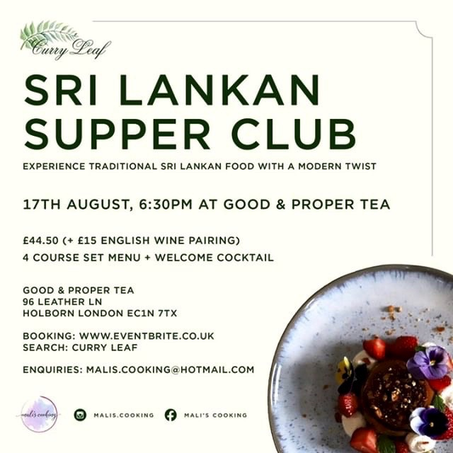 Poster for Sri Lankan Supper Club in London
