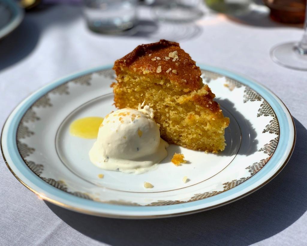 Dessert of Orange Polenta Torte served at brunch supper club