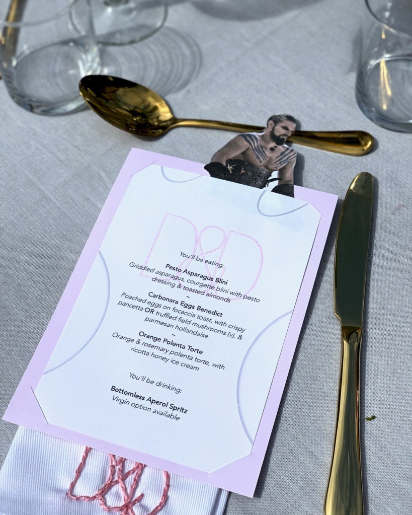 Place cards designed for brunch supper club
