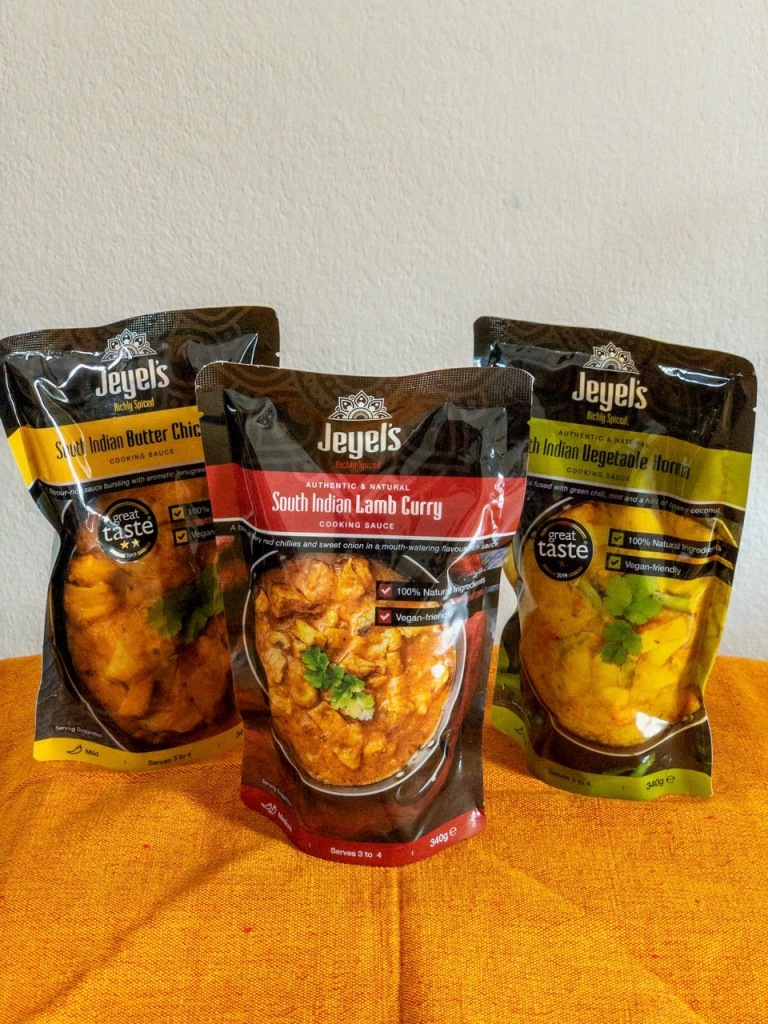 Range of Jeyel's South Indian sauces
