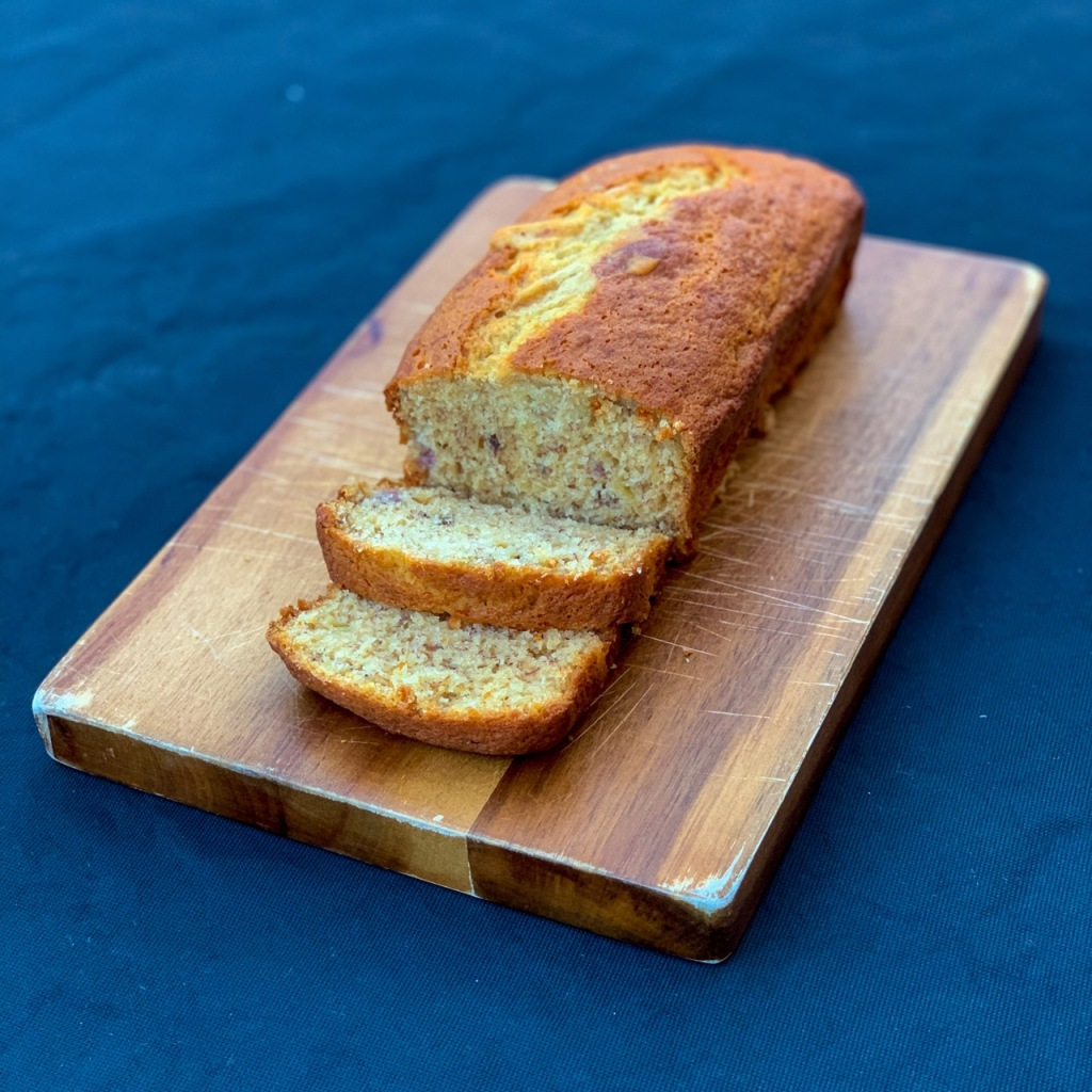 banana cake sliced