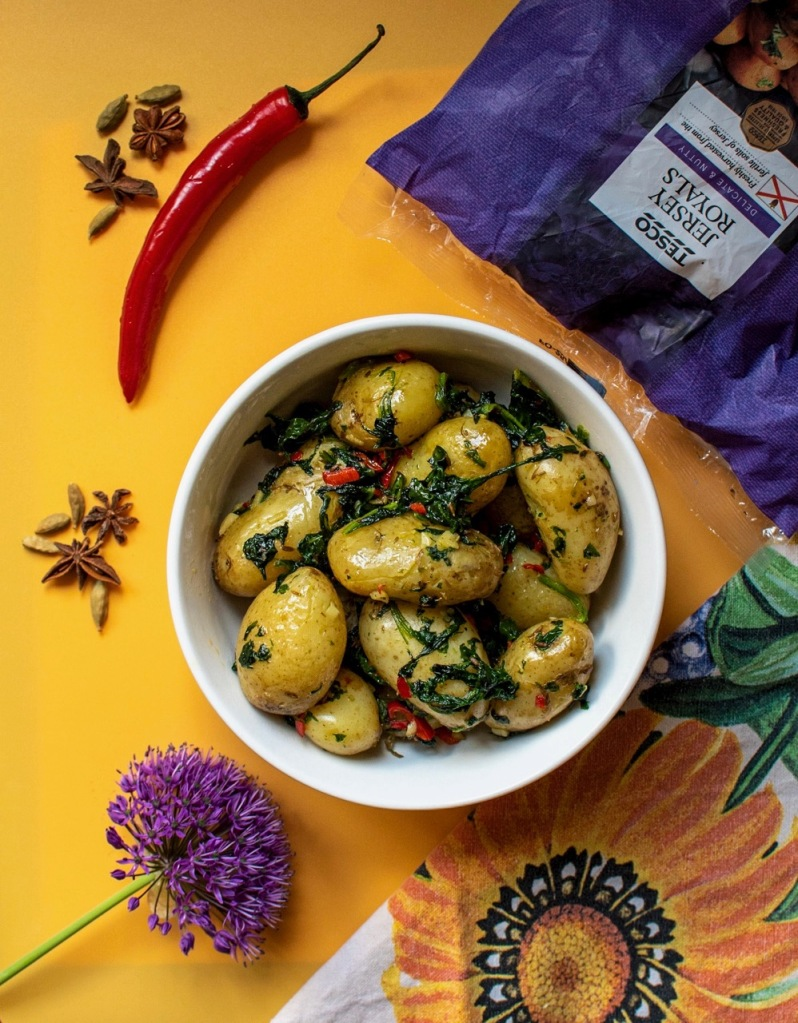 Curry dinner for two - cumin and spinach new potatoes