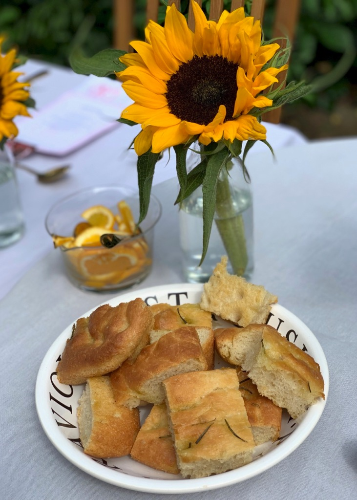 Homemade focaccia served at the brunch supper club