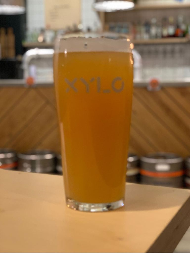 a pint of beer with Xylo branding on the glass.