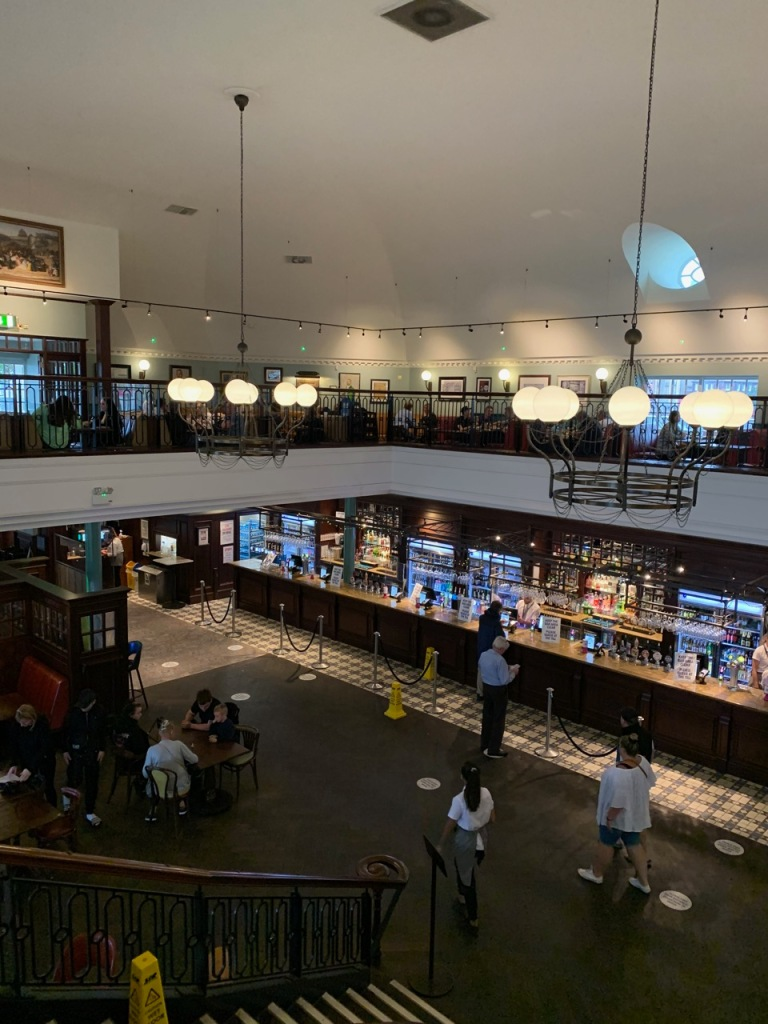 Pub interiors with two levels