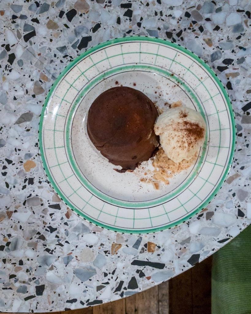 Top down photo of Warm Chocolate Fondant with Ice Cream